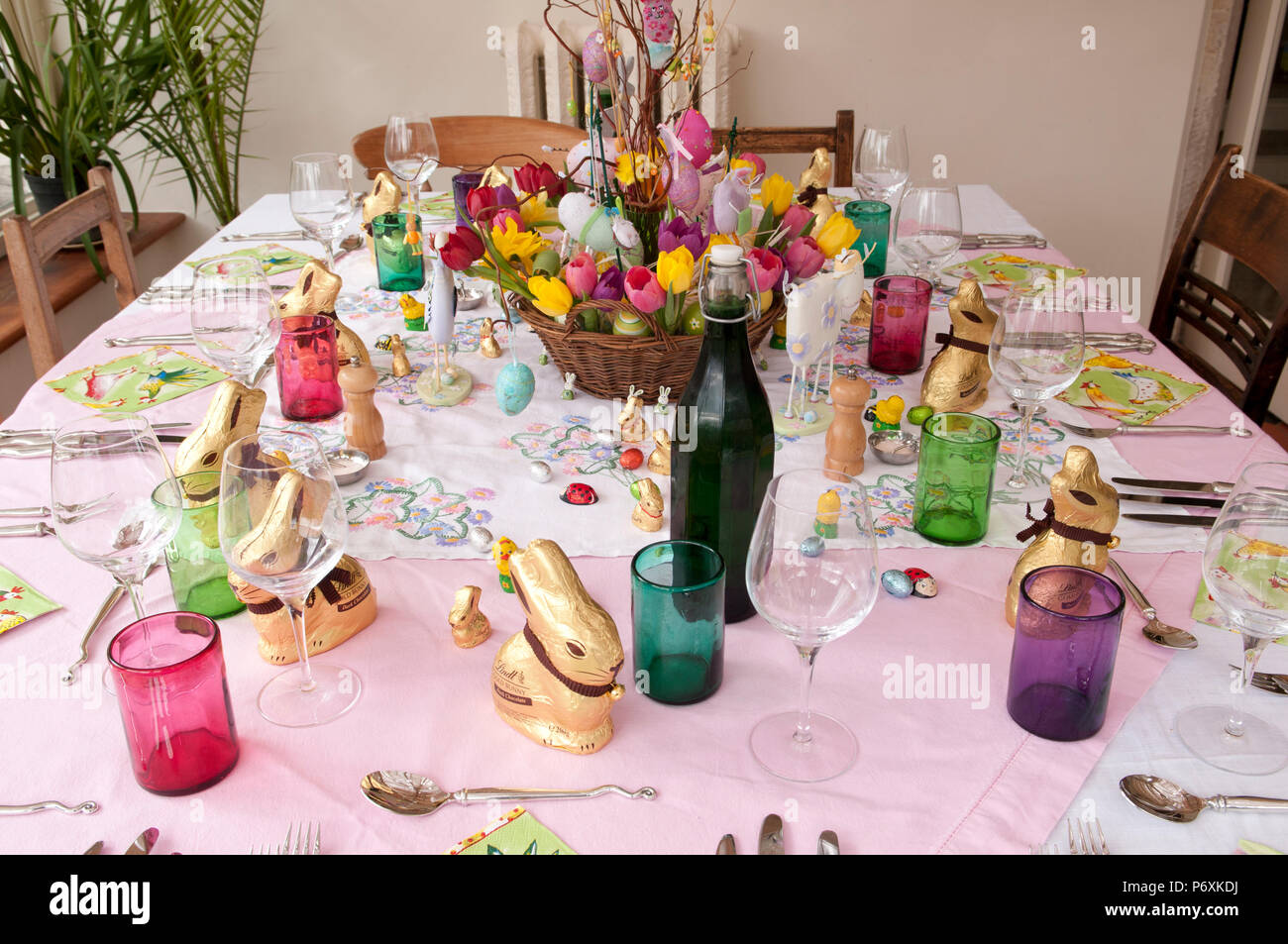 Dining Table Laid With Beautiful Spring Flowers And Easter Decorations Stock Photo Alamy