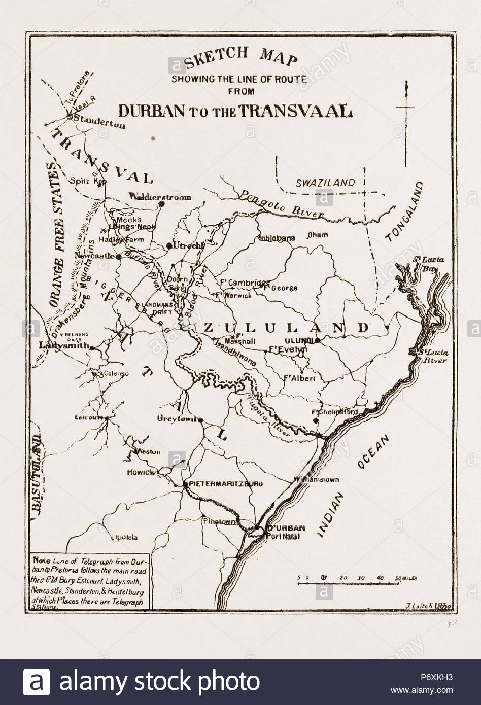 Sketch Map Showing The Road From Durban To The Transvaal South