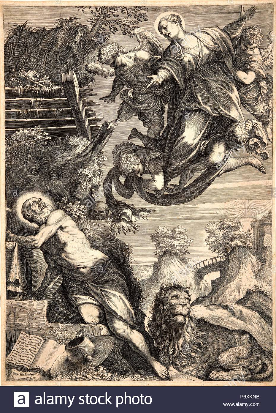 Agostino Carracci (Italian, 1557-1602) after Jacopo Tintoretto (Italian  (Venetian), 1519-1594). The Madonna Appearing to St. Jerome, 1588.  Engraving.