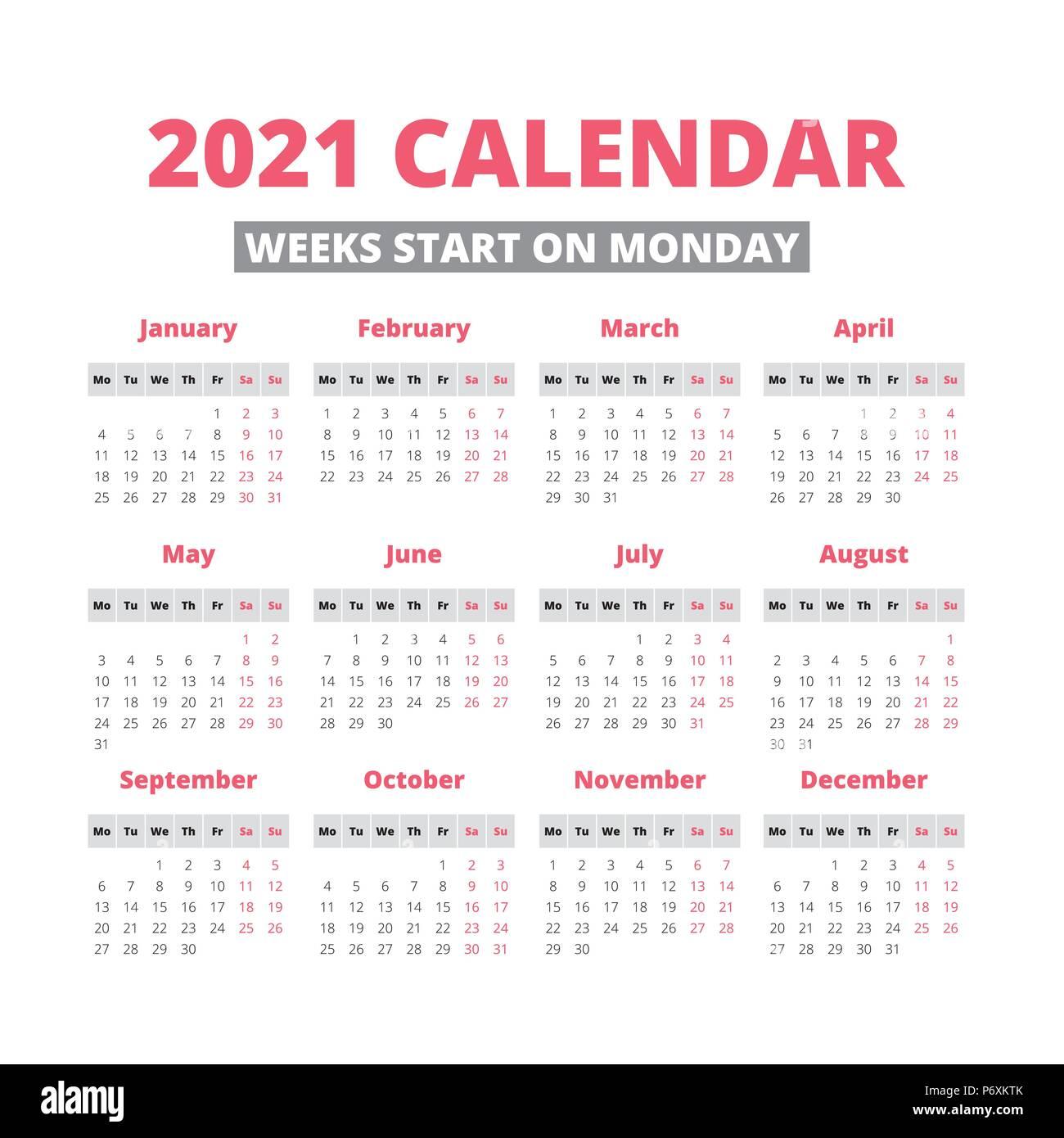 Simple 20 year calendar, week starts on Monday Stock Vector ...