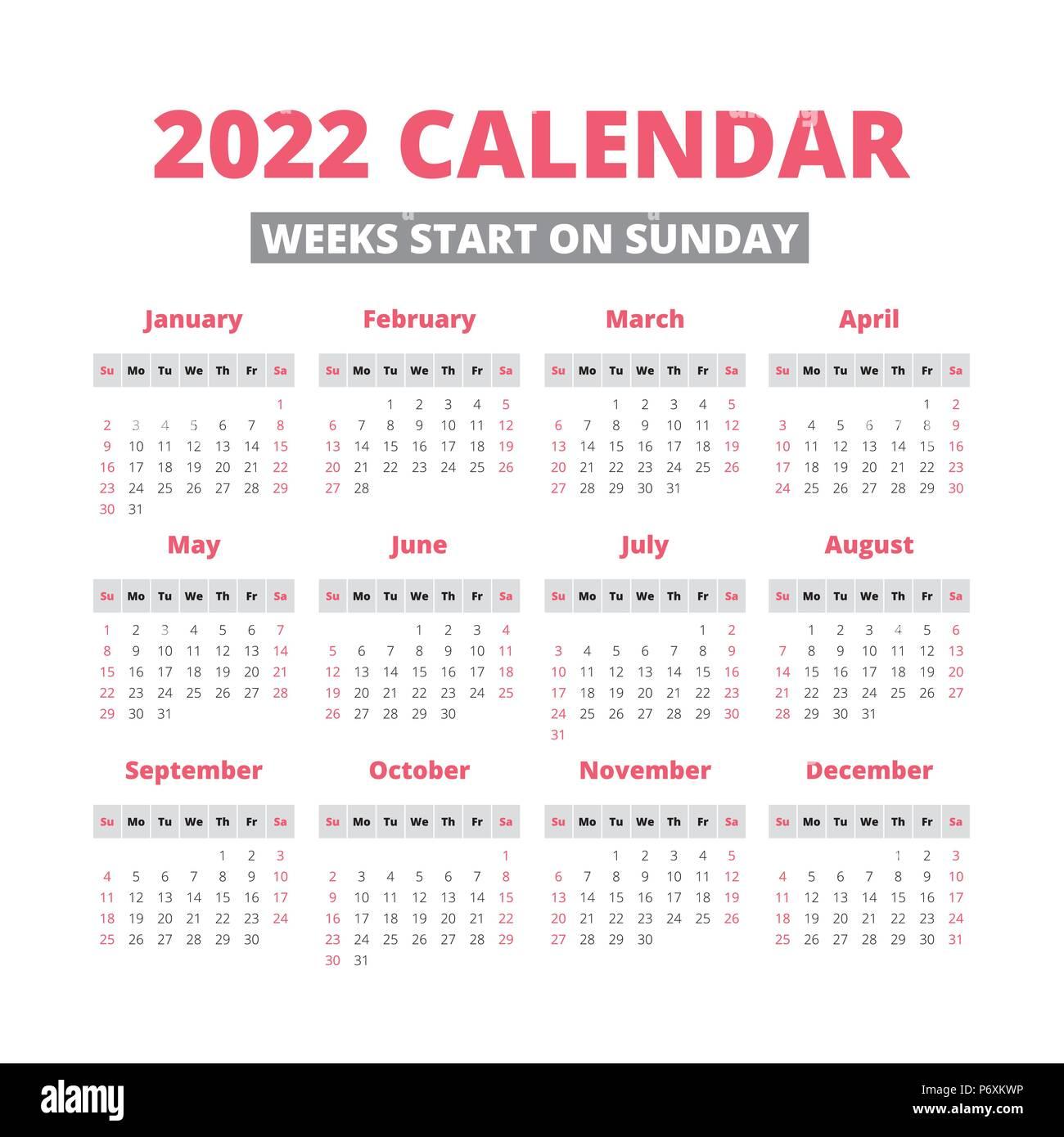 2022 Week Calendar.Simple 2022 Year Calendar Week Starts On Sunday Stock Vector Image Art Alamy