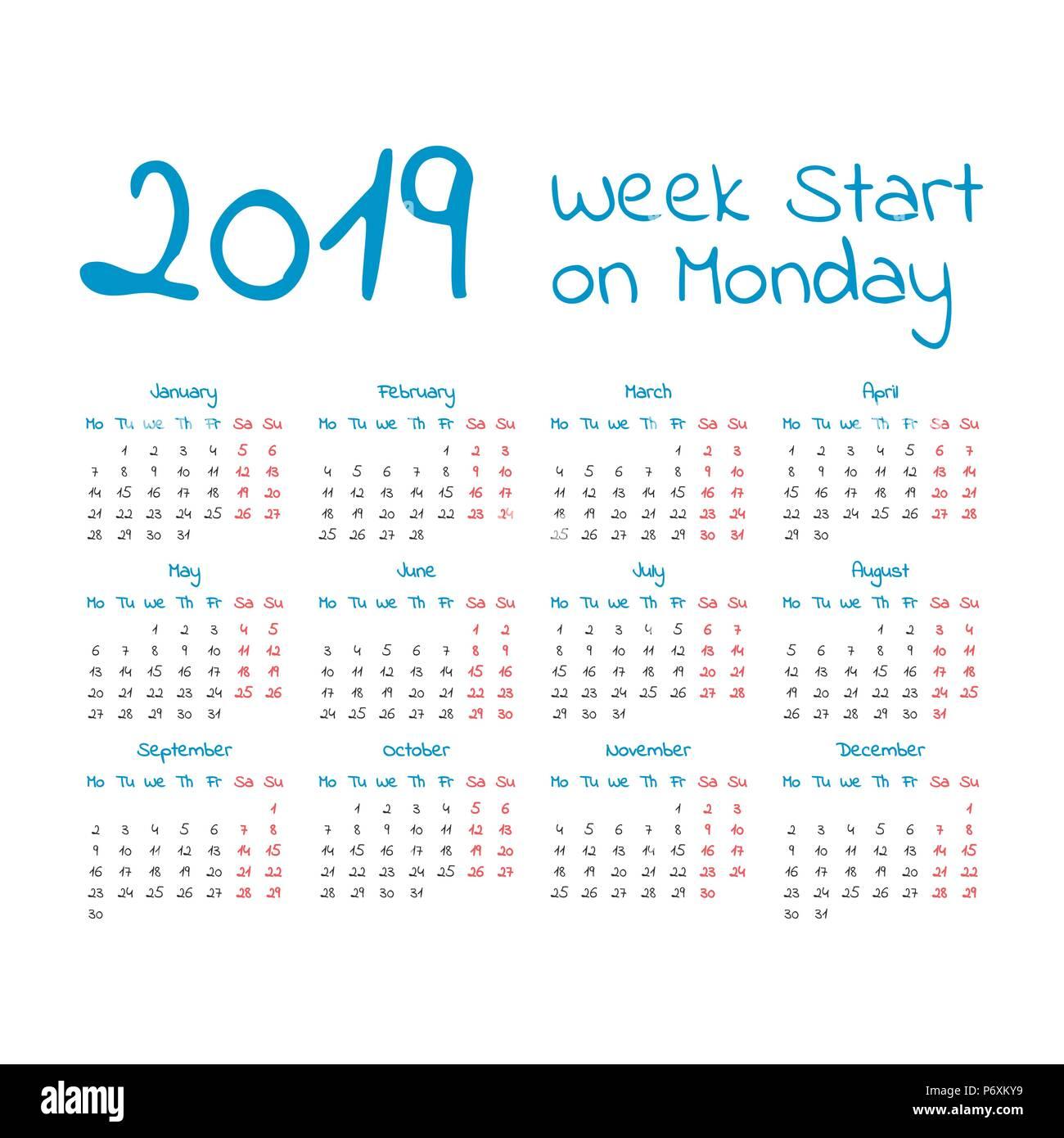 5 Year Calendar Starting 2019 Simple 2019 year calendar, week starts on Monday Stock Vector Art