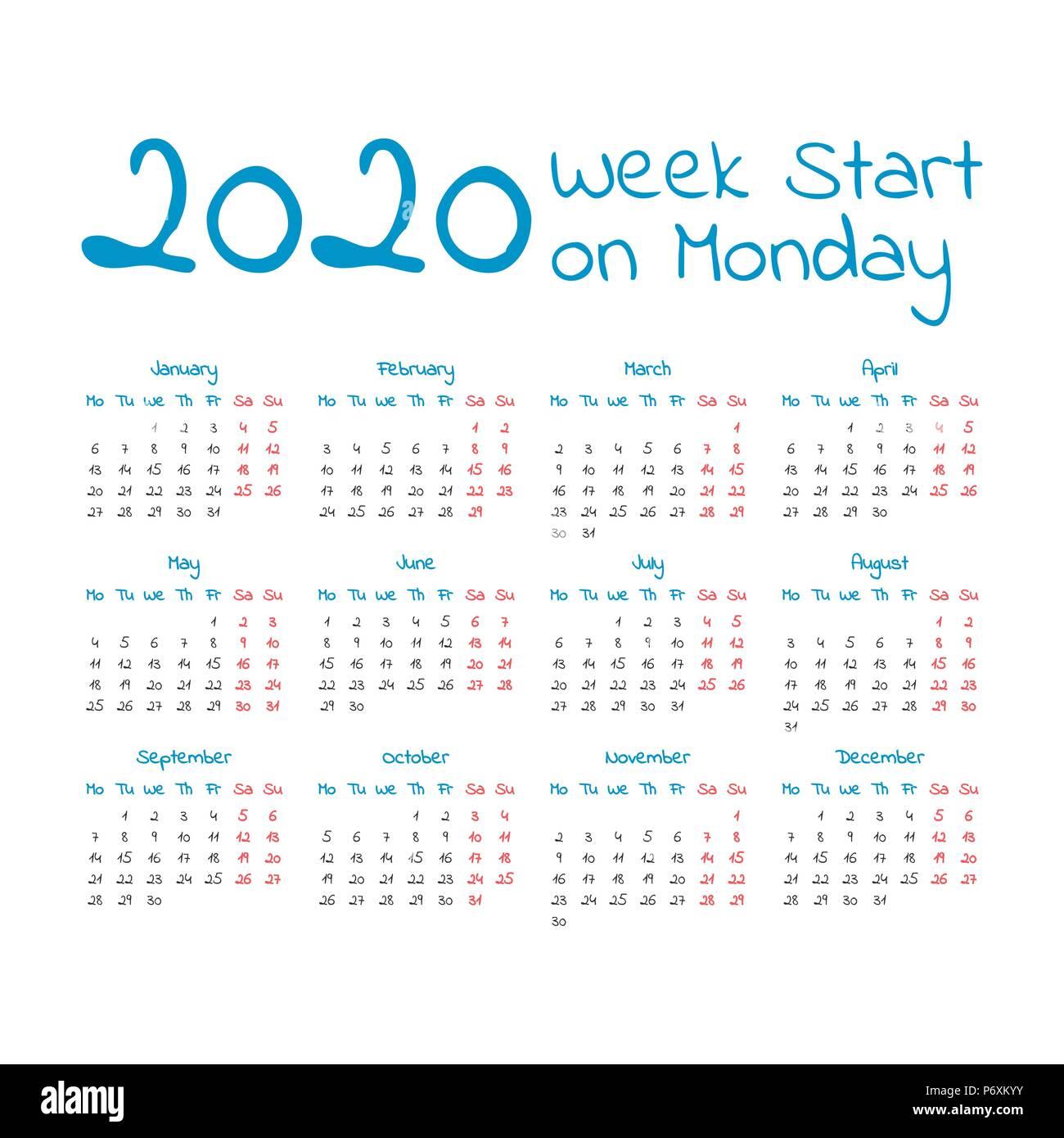2020 Calendar Starting Monday Simple 2020 year calendar, week starts on Monday Stock Vector Art