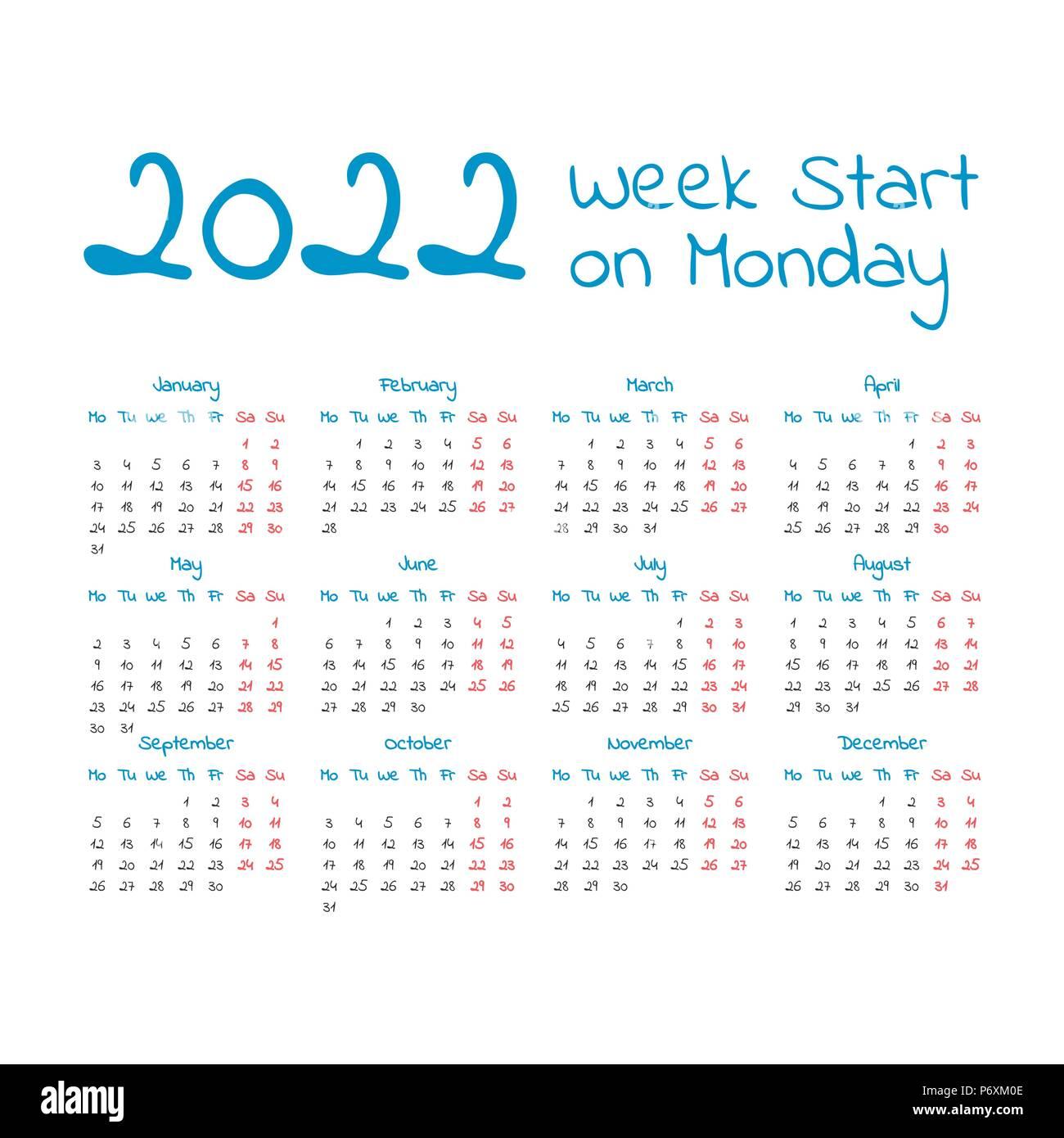Work Week Calendar 2022.Simple 2022 Year Calendar Week Starts On Monday Stock Vector Image Art Alamy