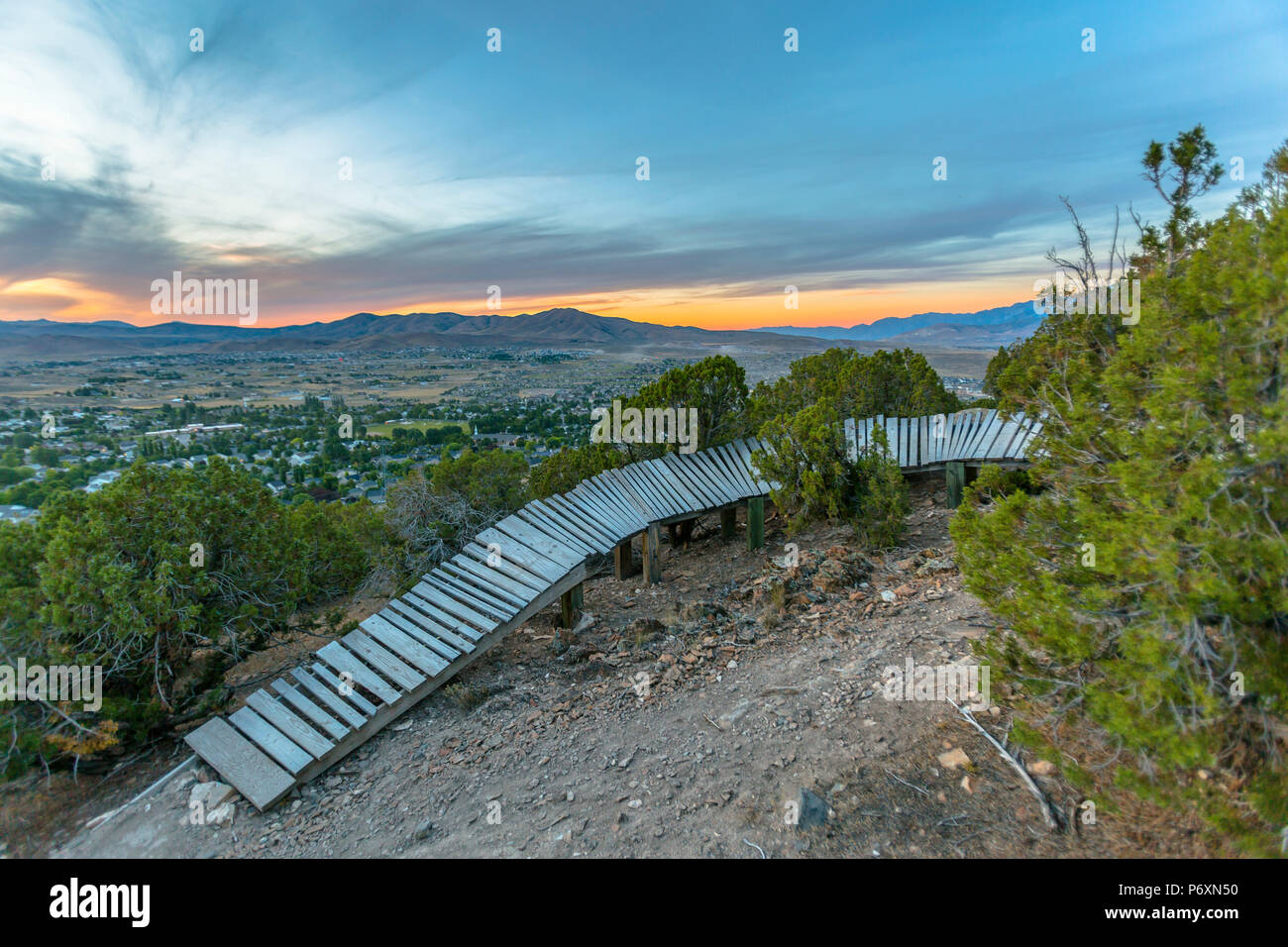 Bike feature on trail in mountians - Stock Image