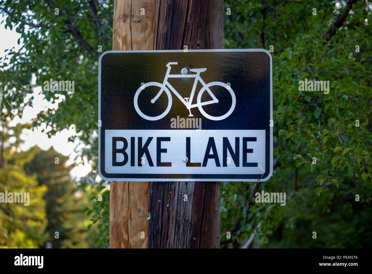 Bike lane sign in downtown - Stock Image