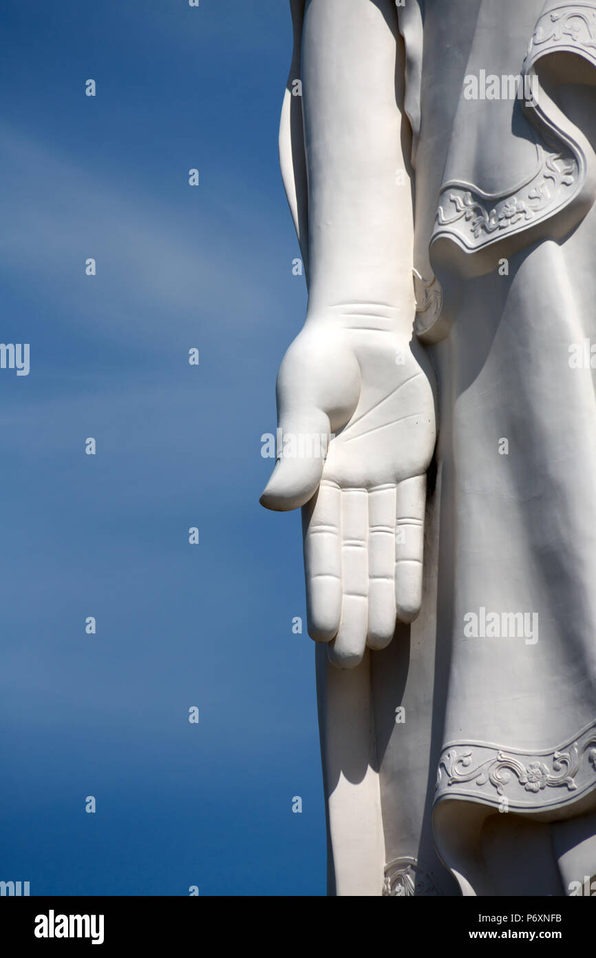 Hand of Buddha Statue at Vinh Trang Temple pagoda , My ThoVietnam - Stock Image