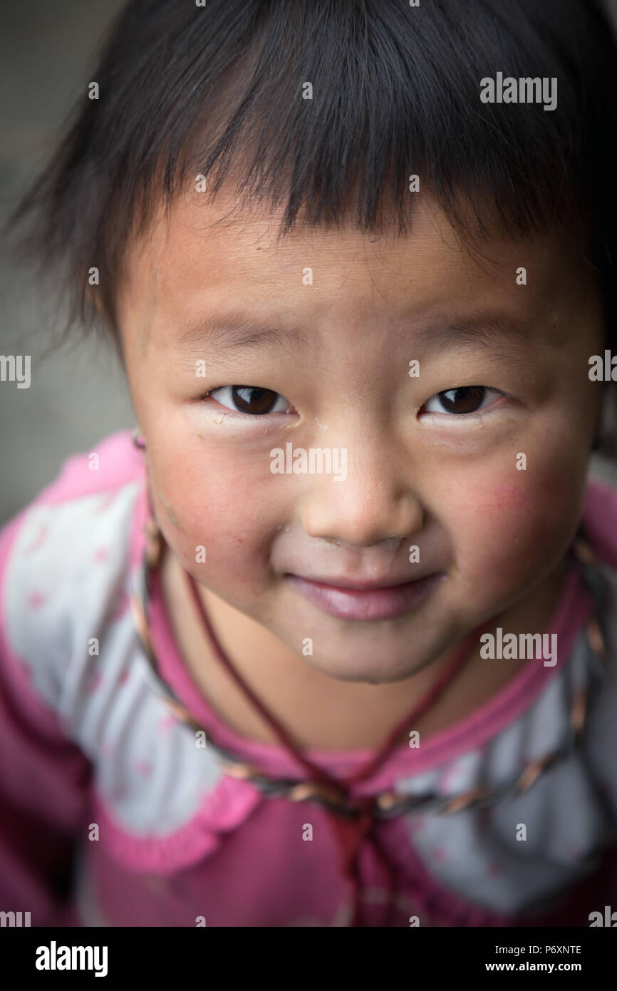 Black Hmong child in Sapa , Vietnam - Stock Image