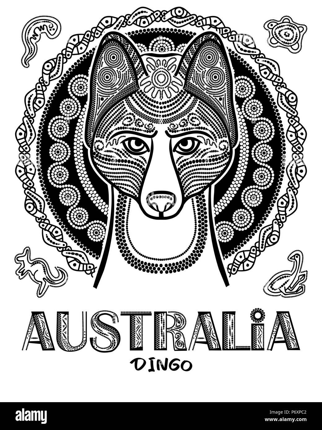 Vector image of dog dingo in ethnic style. Australian Aboriginal style - Stock Image