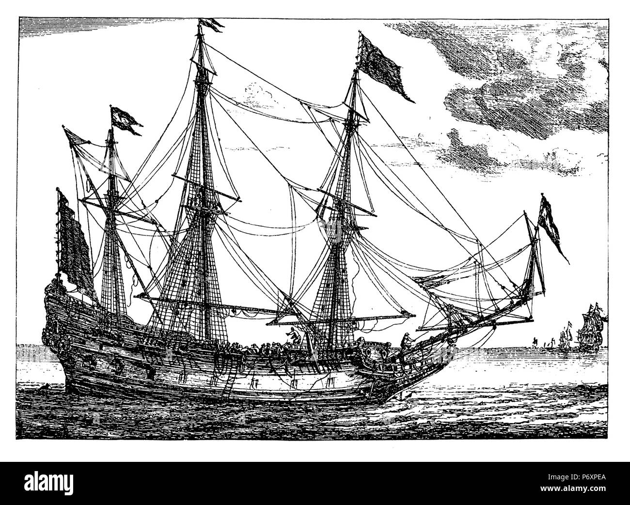 A Dutch sailing ship (Straetvarder) in the 17th century. After a copperplate engraving by Reinier Zeemann, - Stock Image