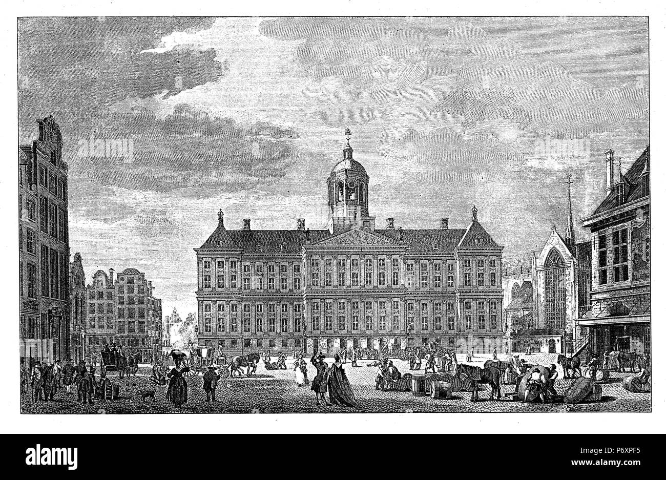 City Hall (now Royal Castle) to Amsterdam in the 17th century. After a copperplate engraving by Reinier Binteles, - Stock Image