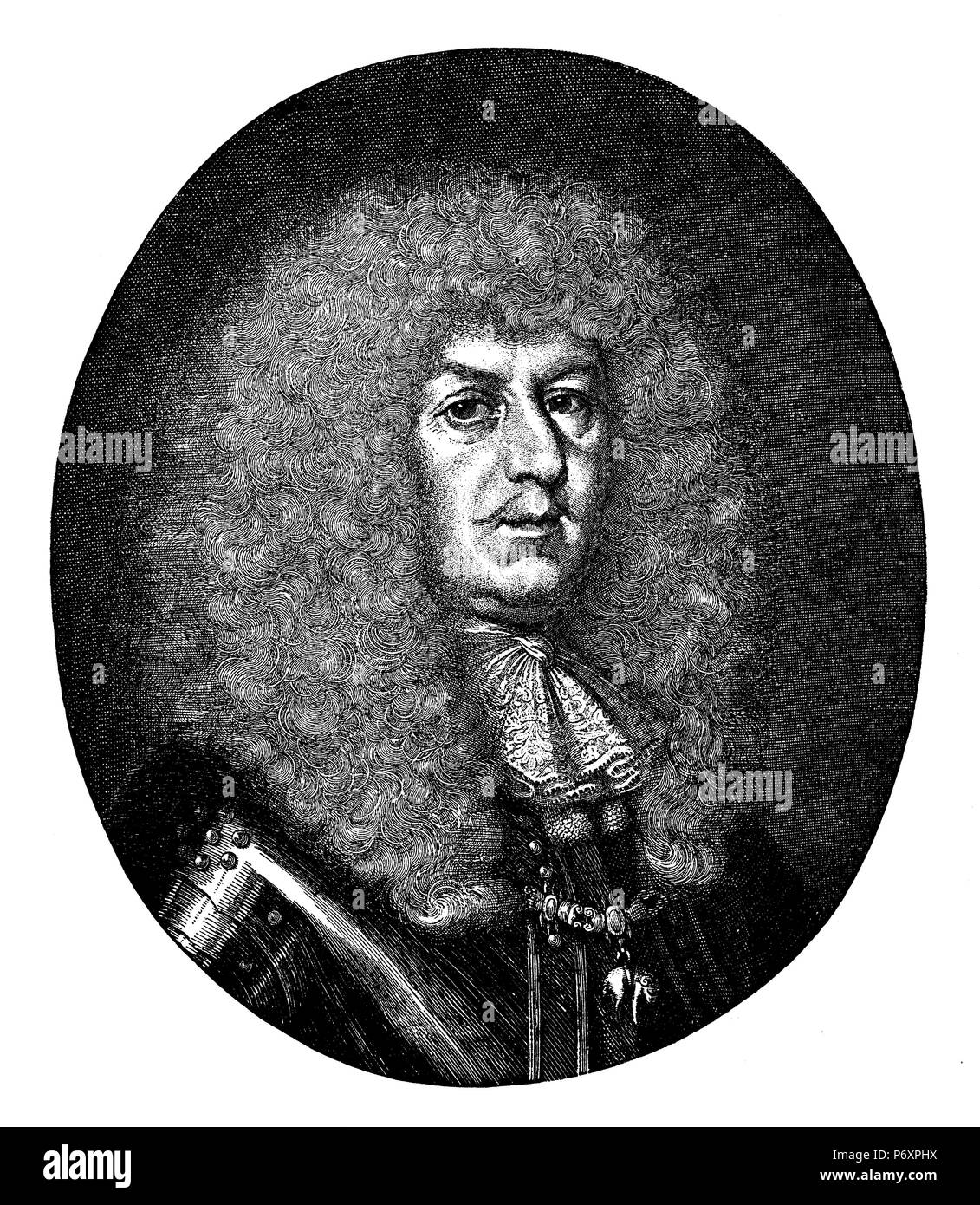 General Alexander Bournonville. After a copperplate engraving by Philipp Kilian, - Stock Image