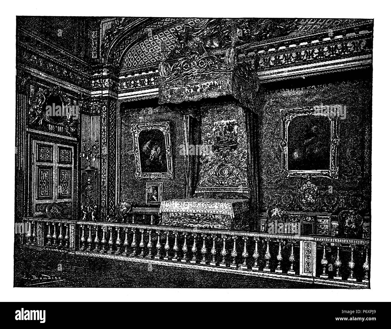 Bedroom of Louis XIV in the Palace of Versailles. To Durun, Stock Photo