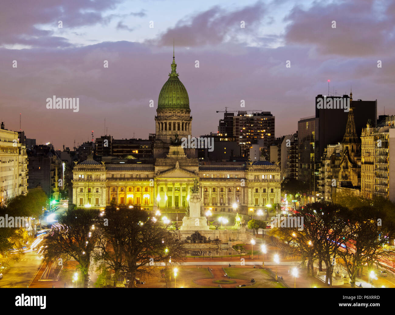Argentina, Buenos Aires Province, City of Buenos Aires, Plaza del Congreso, Elevated view of the  Palace of the Argentine National Congress. - Stock Image