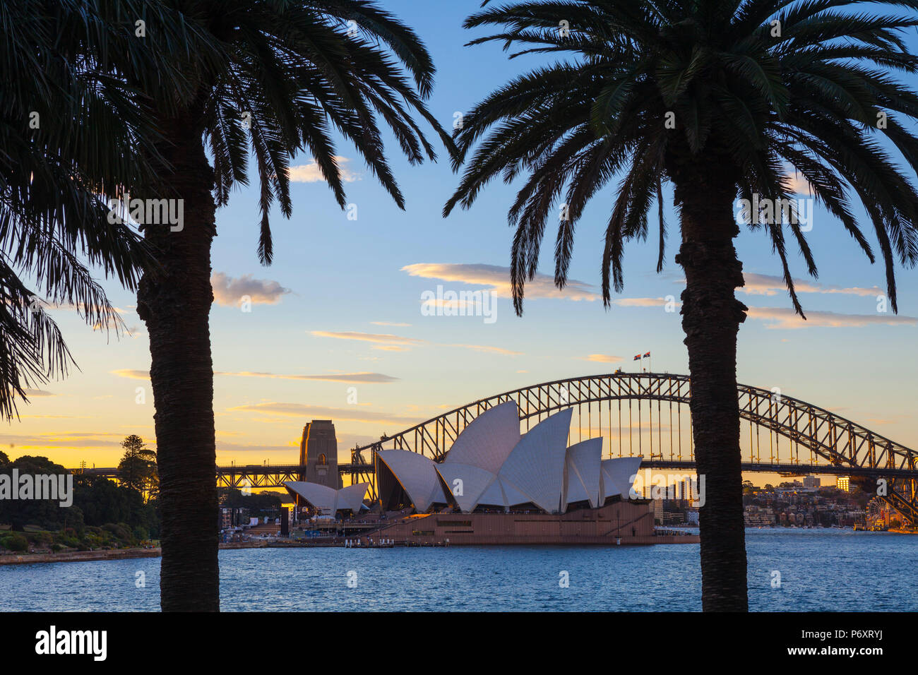Sydney Opera House & Harbour Bridge, Darling Harbour, Sydney, New South Wales, Australia - Stock Image