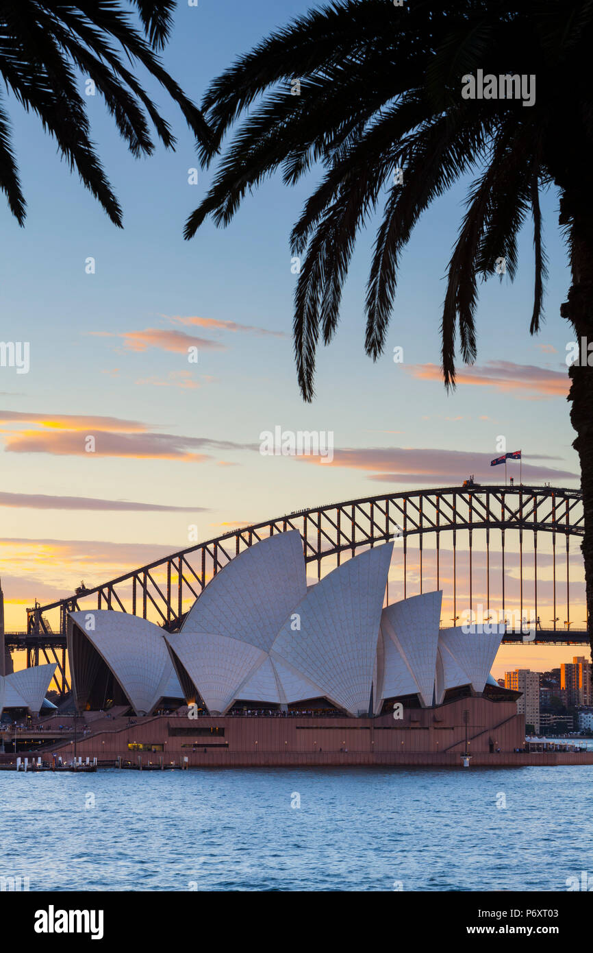 Sydney Opera House & Harbour Bridge, Darling Harbour, Sydney, New South Wales, Australia - Stock Image