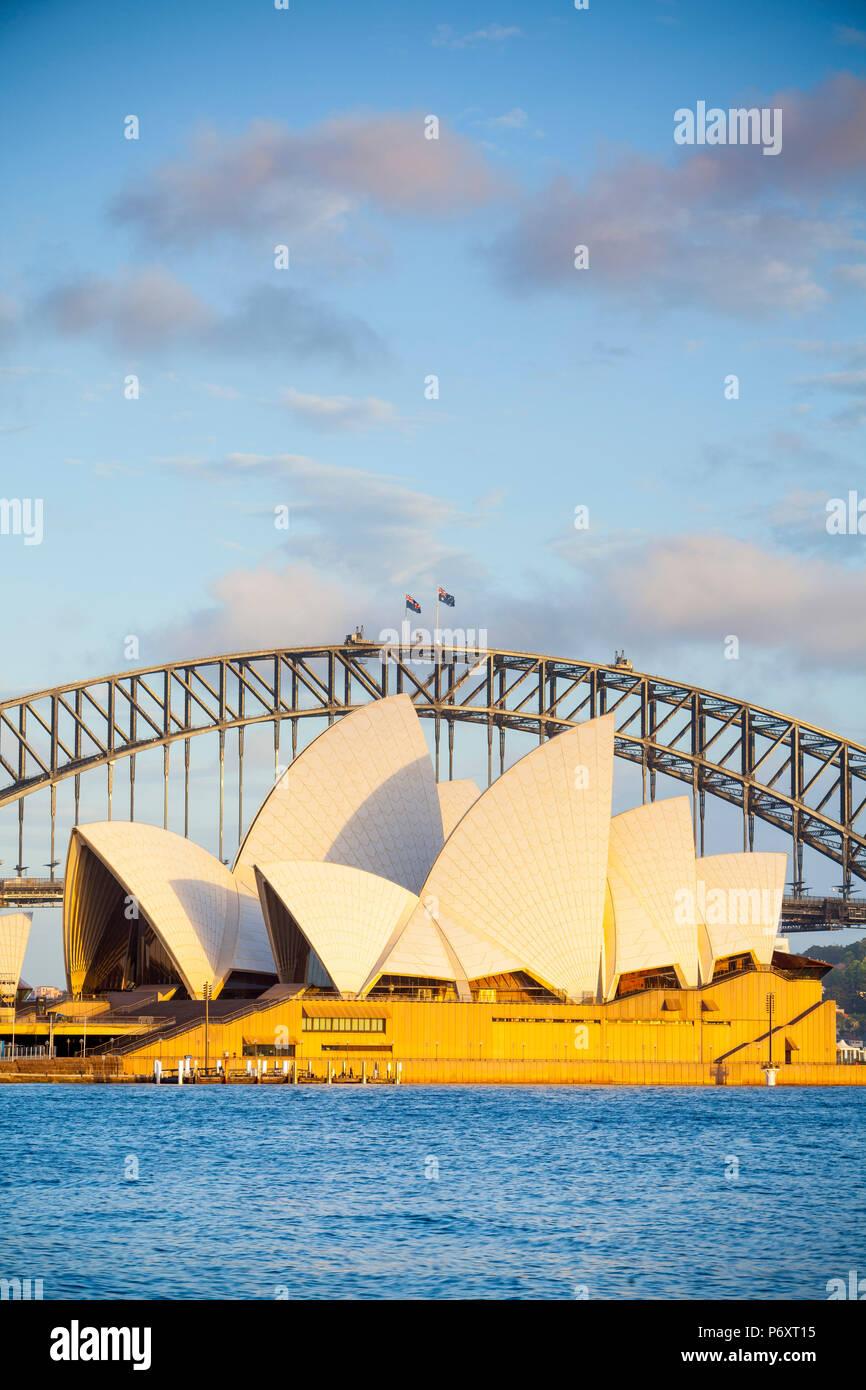 Sydney Opera House & Harbour Bridge, Darling Harbour, Sydney, New South Wales, Australia Stock Photo