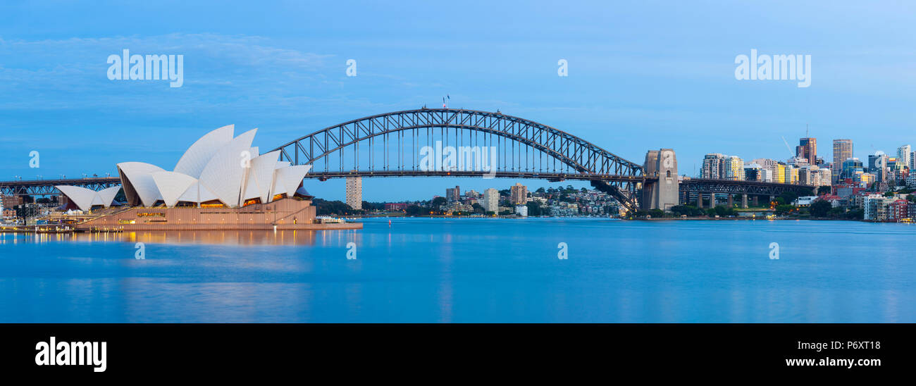 Sydney Opera House & Harbour Bridge, Darling Harbour, Sydney, New South Wales, Australia Stock Photo