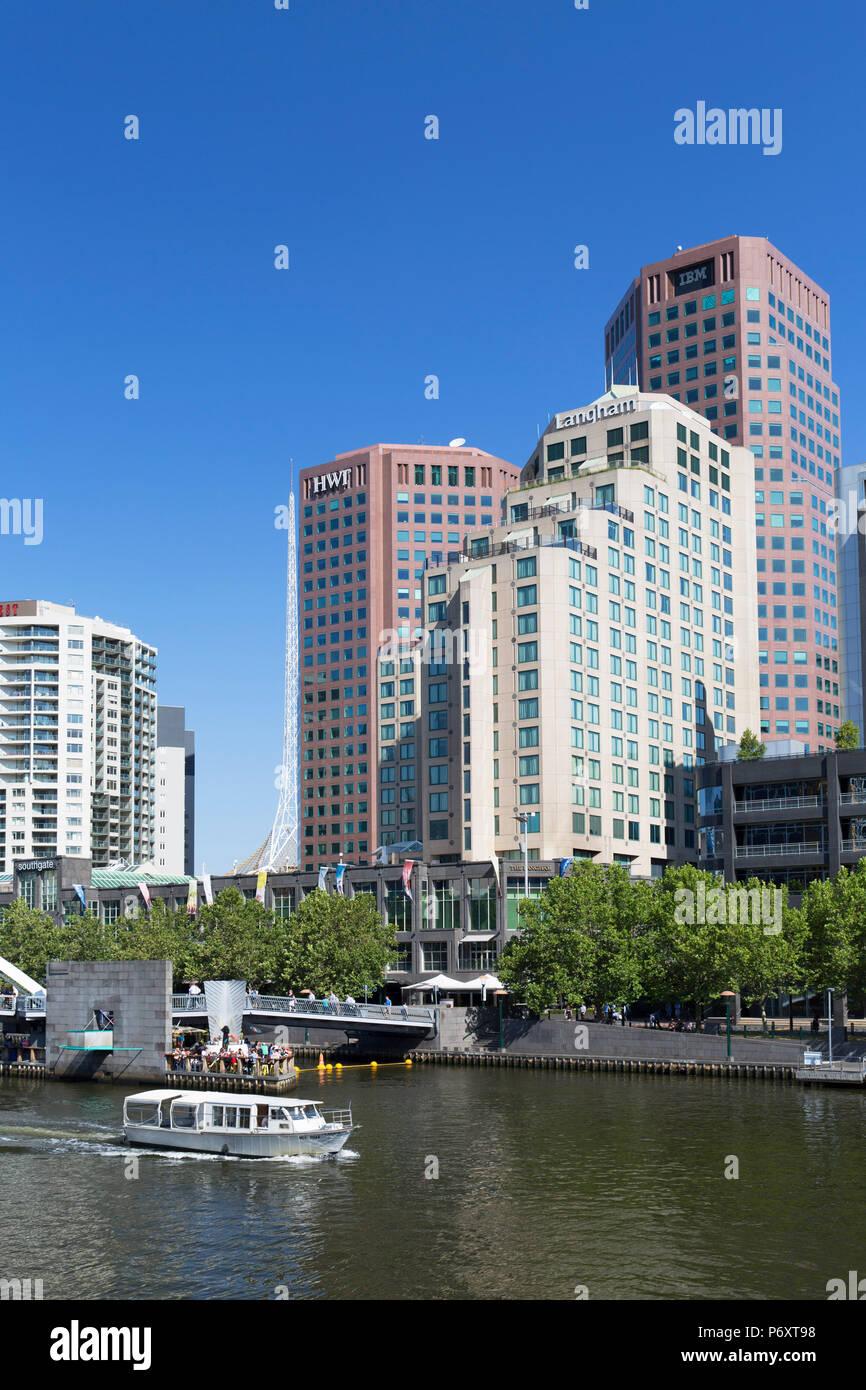 Boat on Yarra River, Melbourne, Victoria, Australia Stock Photo