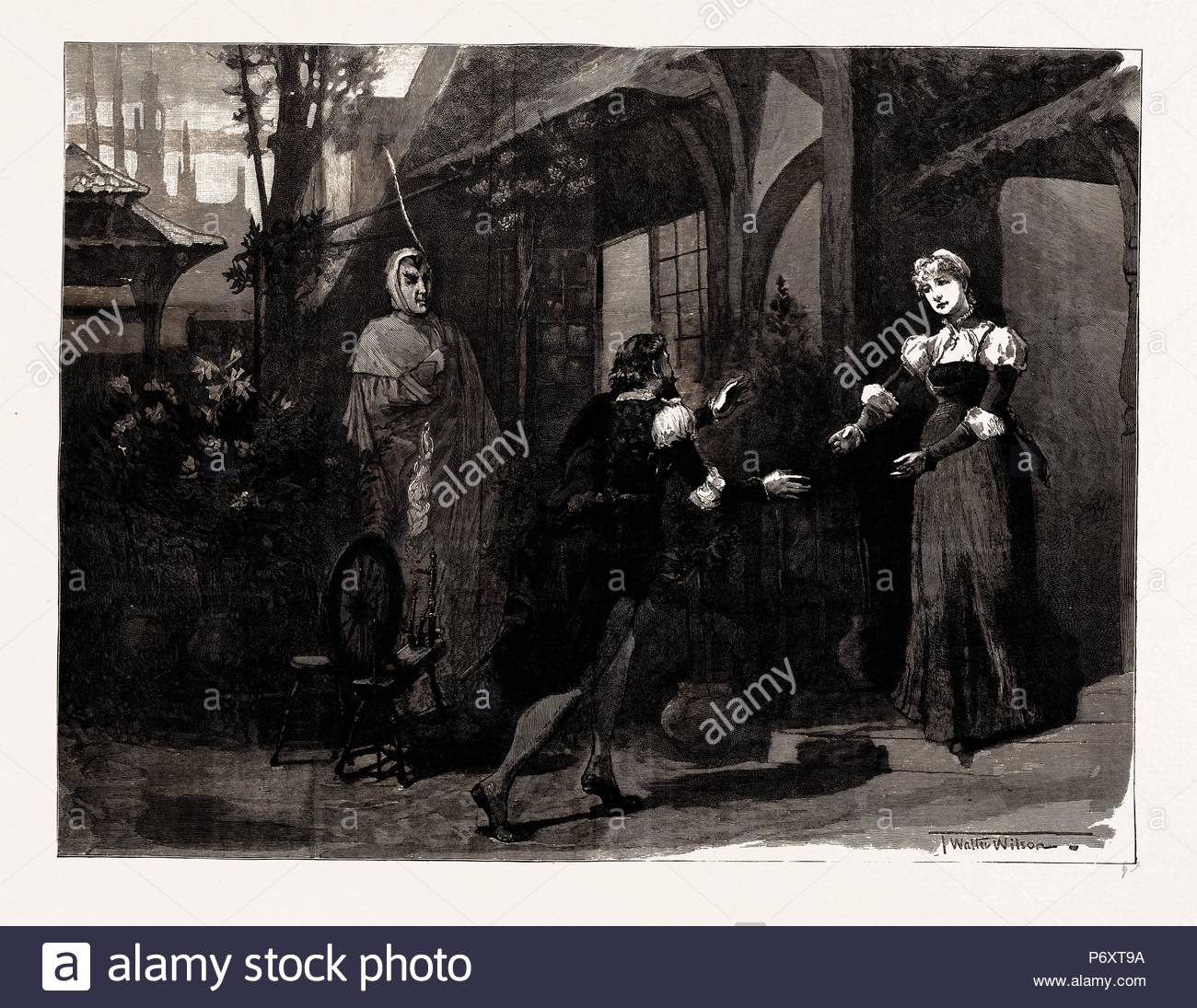 'FAUST', AT THE LYCEUM THEATRE, Mephistopheles (Mr. Irving): 'Pretty to see young lovers play with crime.' ACT II., Scene 6, LONDON, UK, 1886. - Stock Image