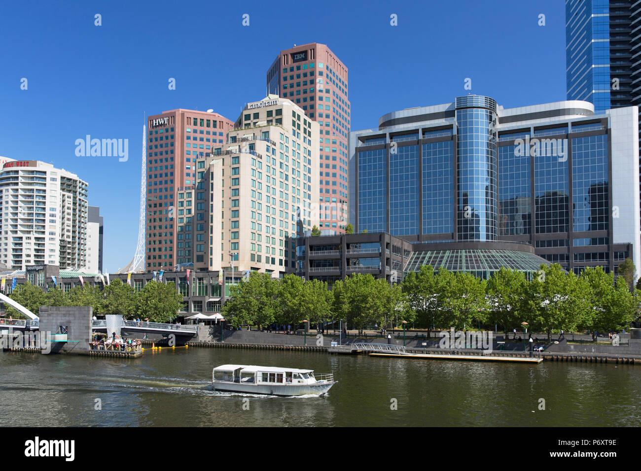 Boat on Yarra River, Melbourne, Victoria, Australia - Stock Image