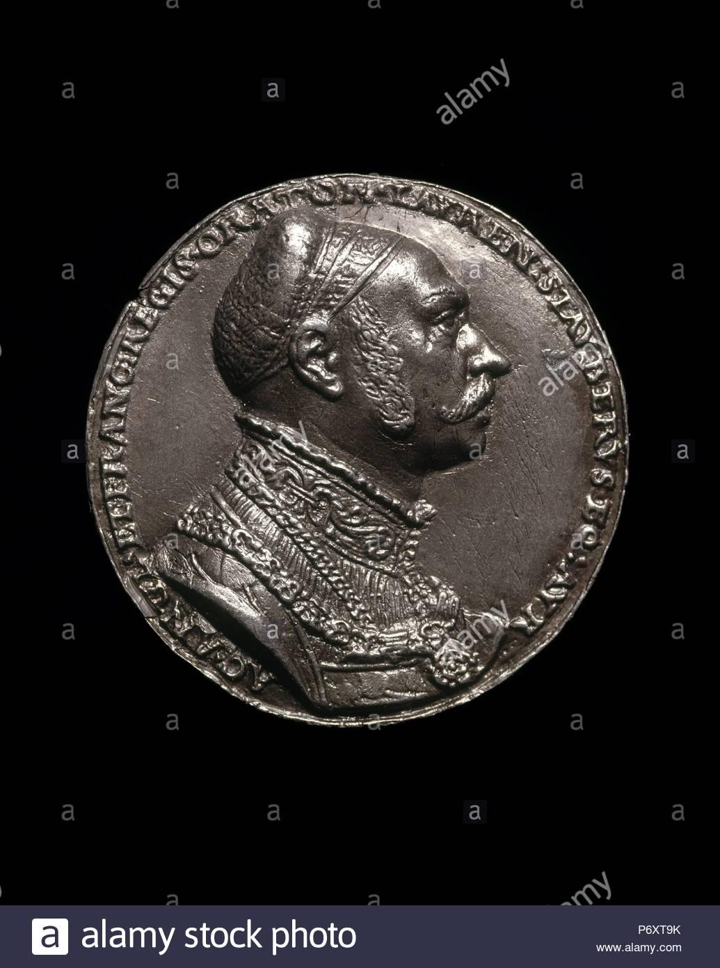 Matthes Gebel, Lorenz Staiber, 1485-1486-1539, German Writer and Orator [obverse], German, c. 1500 - 1574, 1535, lead. - Stock Image