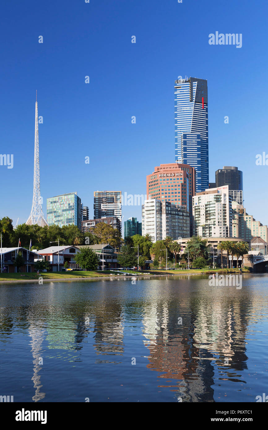 Eureka Tower and Victorian Arts Centre along Yarra River, Melbourne, Victoria, Australia - Stock Image