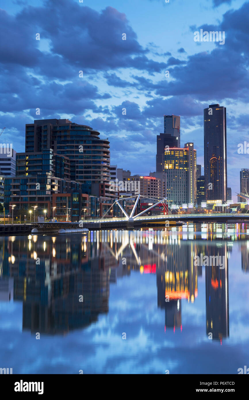 South Wharf skyline at dawn, Melbourne, Victoria, Australia - Stock Image