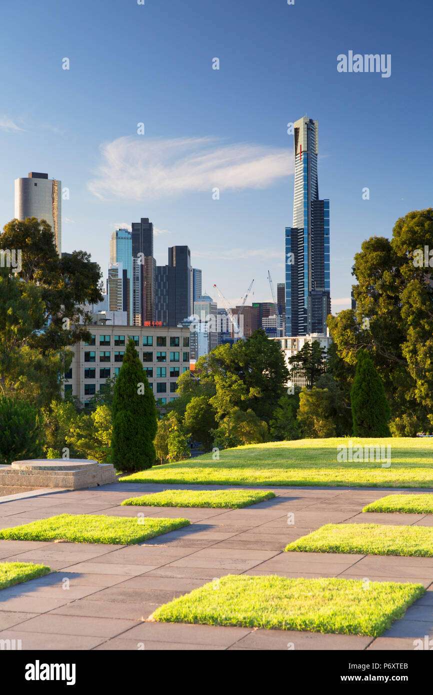 Eureka Tower from Shrine of Remembrance, Melbourne, Victoria, Australia - Stock Image