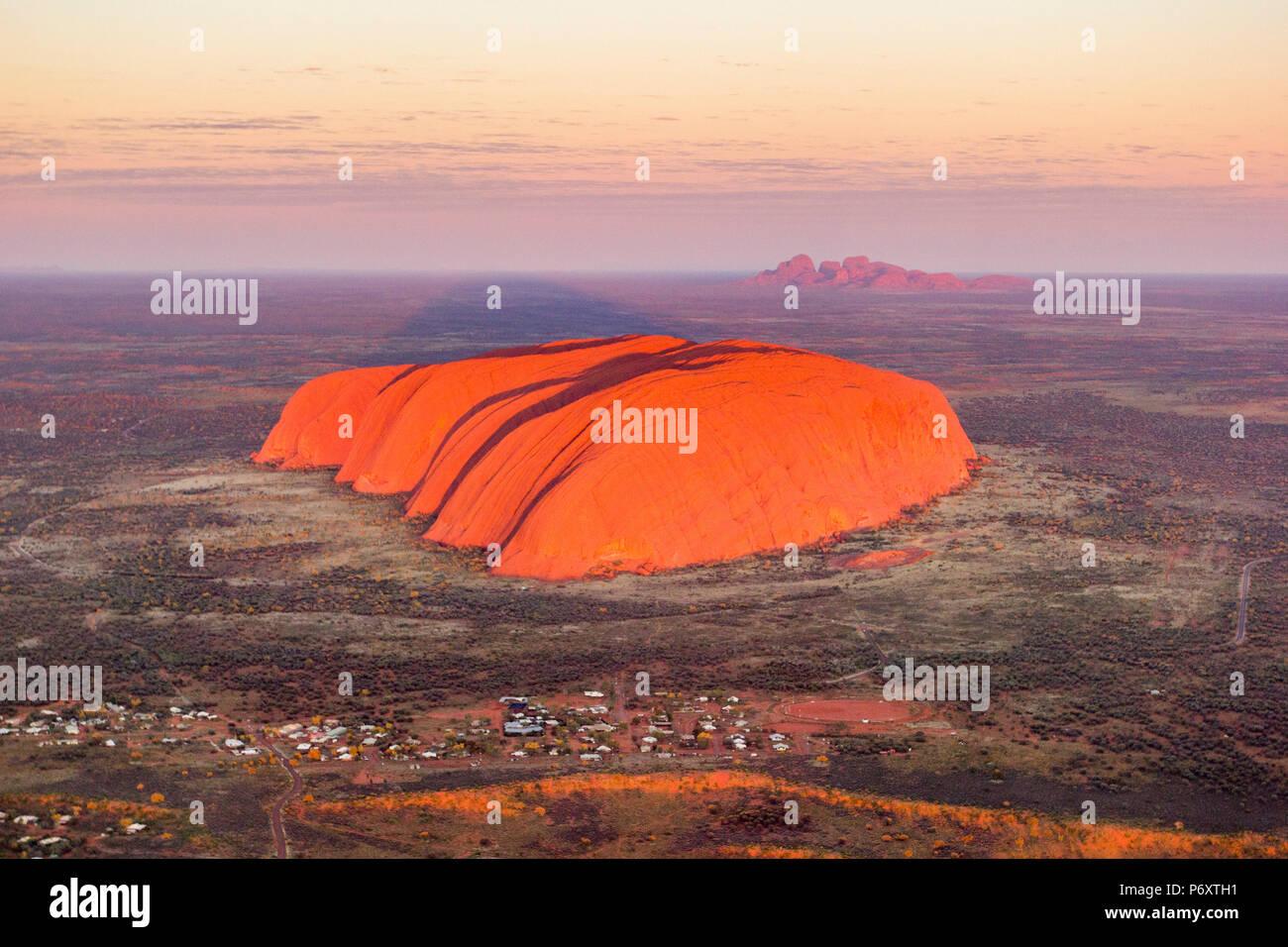 Uluru and Kata Tjuta at sunrise, Aerial view. Northern Territory, Australia - Stock Image