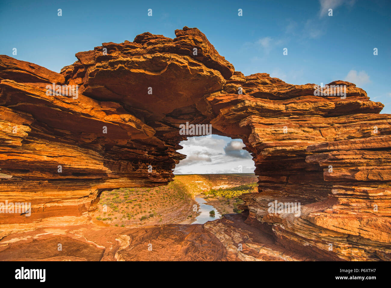 Kalbarri National Park, Kalbarri, Western Australia, Australia. Popular Nature's Window lookout and the Murchison River Gorge. Stock Photo