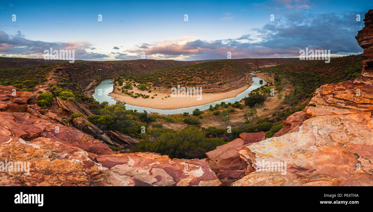 Kalbarri National Park, Kalbarri, Western Australia, Australia. The Loop of the  Murchison River Gorge at Nature's Window. Stock Photo