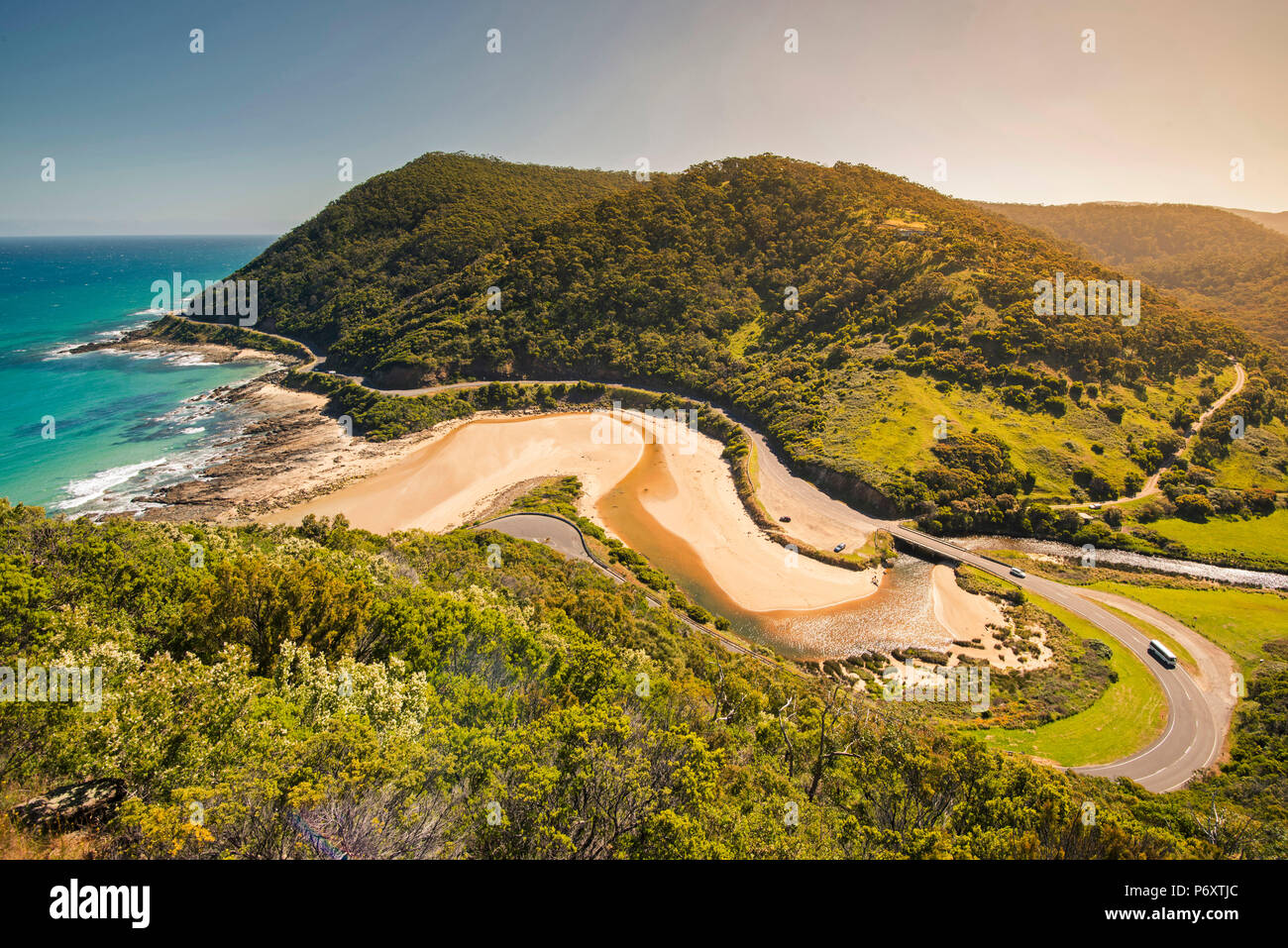 Great Ocean Road, Victoria, Australia. High angle view at sunset. - Stock Image