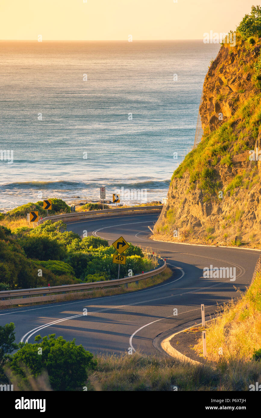 Great Ocean Road, Victoria, Australia. Bending road. - Stock Image