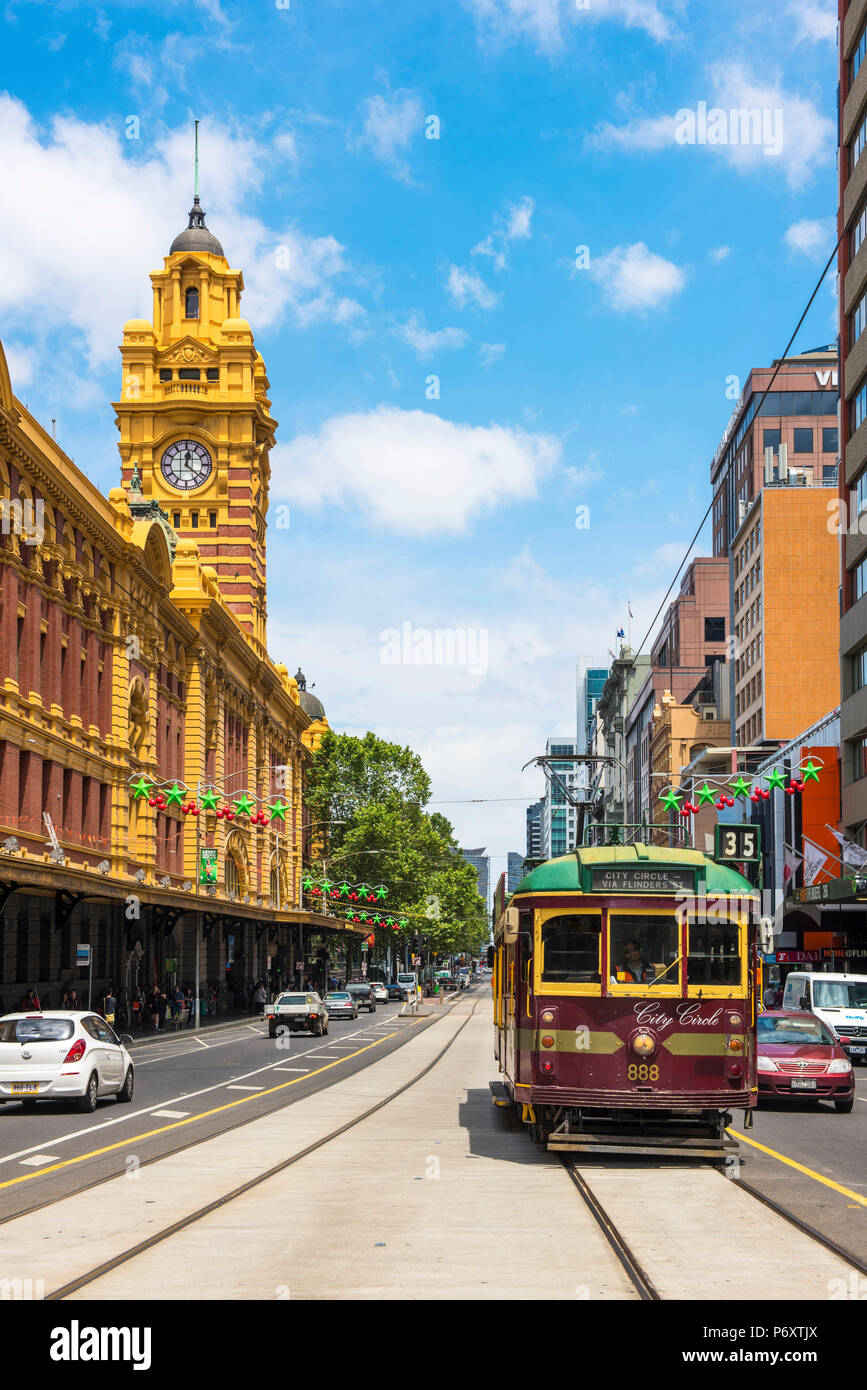 Melbourne, Victoria, Australia. Flinders Street Station and the historical old tram. Stock Photo