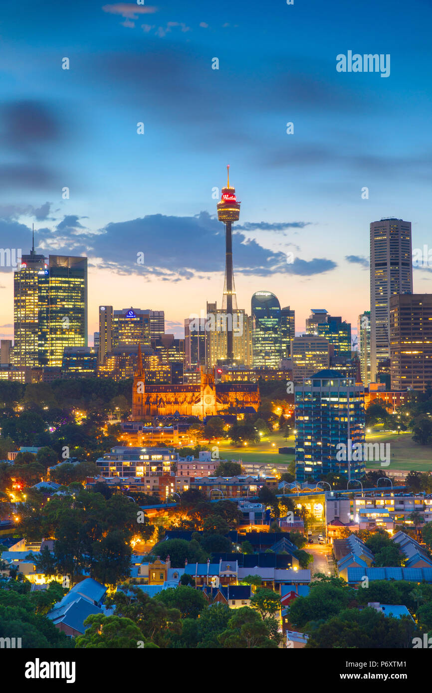 View of skyline at sunset, Sydney, New South Wales, Australia Stock Photo