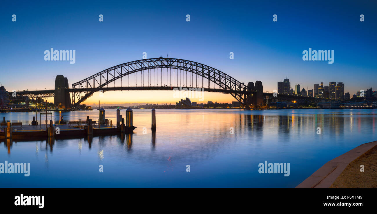 Sydney Harbour Bridge from McMahons Point at sunrise, Sydney, New South Wales, Australia - Stock Image