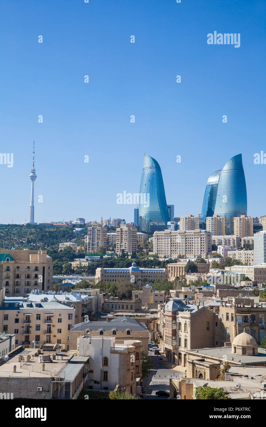 Azerbaijan, Baku, View of Old city, Flame Towers and TV Tower - Stock Image