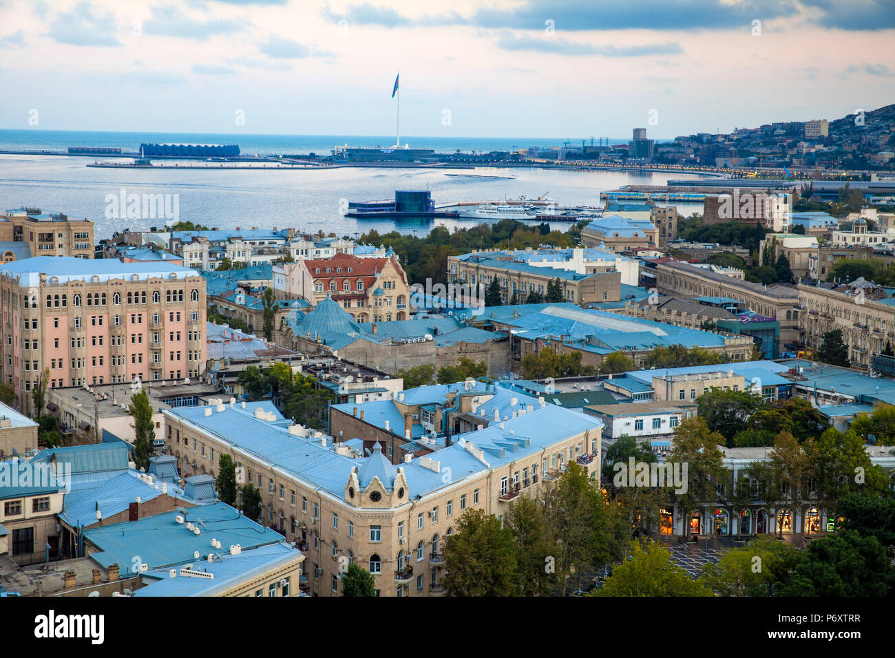 Azerbaijan, Baku, View of city looking over Fountain Square to Baku Crystal Hall, where the 2012 Eurovision Song Contest was held - and the World's second Tallest Flagmast Stock Photo