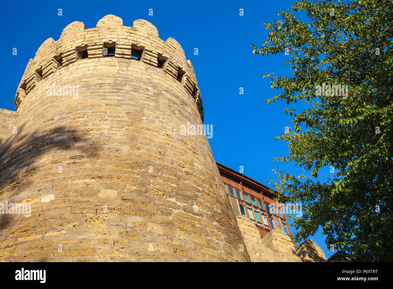 Azerbaijan, Baku, 12th-century defensive walls of The Old Town - Icheri Sheher, - Stock Image