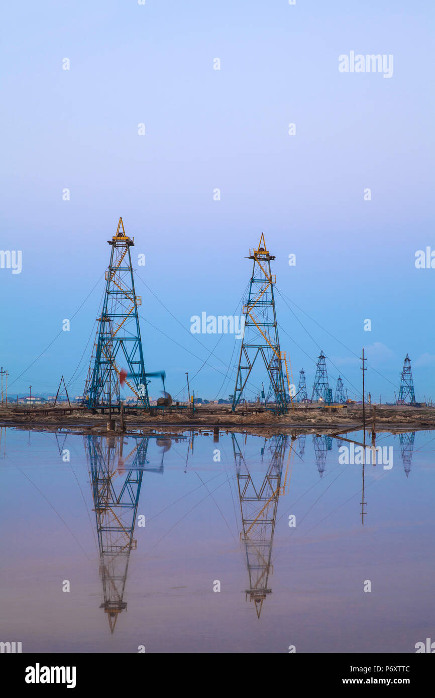 Azerbaijan, Abseron Peninsula, Oil Fields Stock Photo
