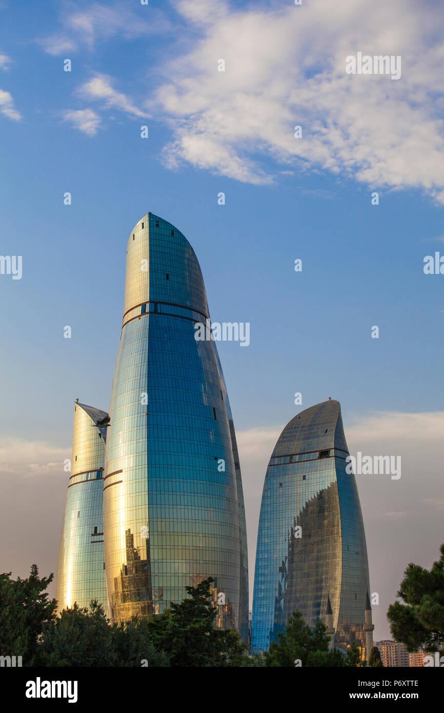 Azerbaijan, Baku, Flame Towers - Stock Image
