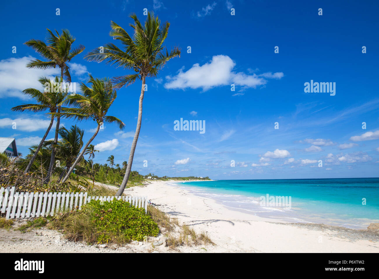 Bahamas, Abaco Islands, Elbow Cay, Hope Town, Hope Town beach - Stock Image