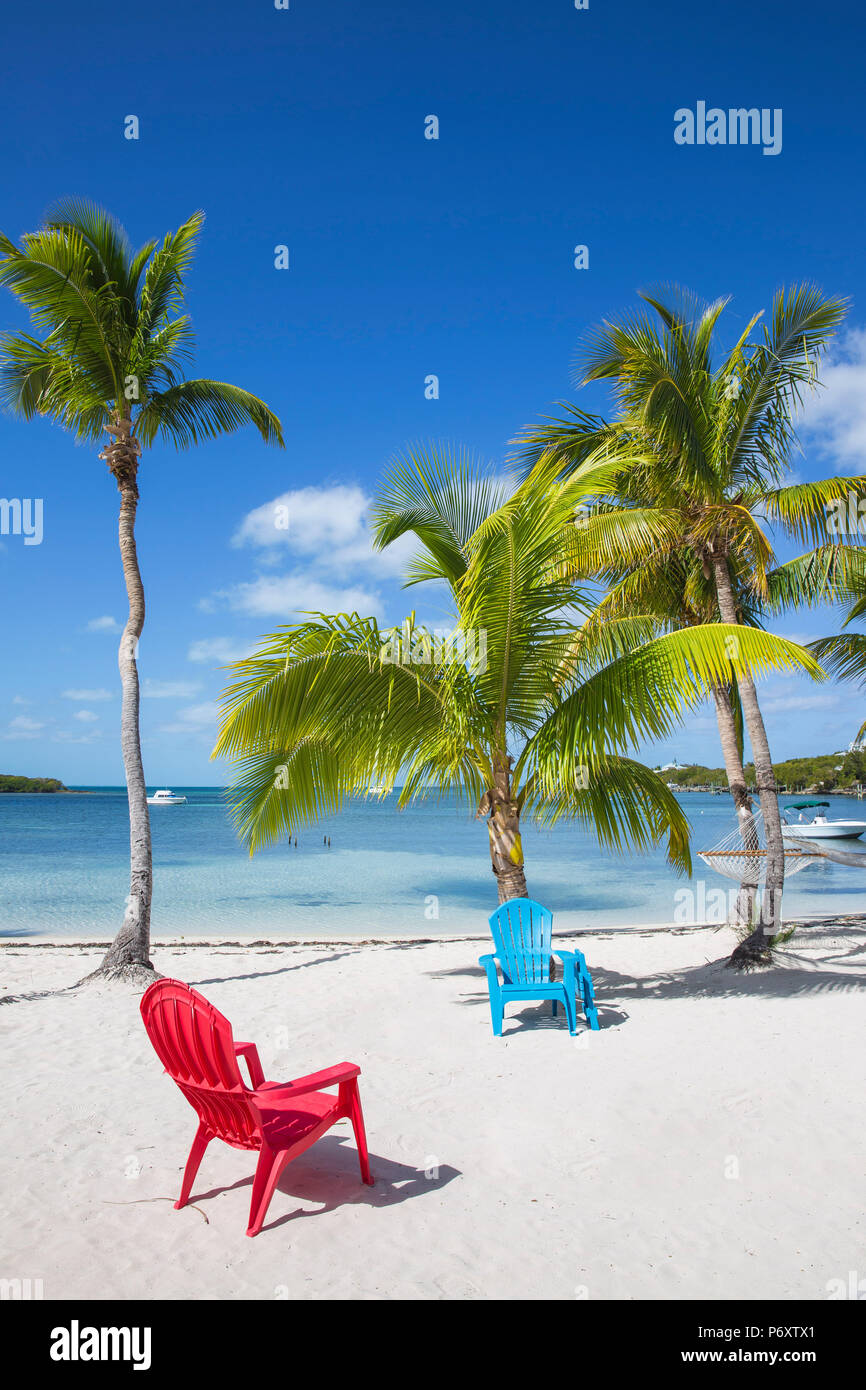 Bahamas, Abaco Islands, Great Guana Cay, Sunset beach - Stock Image