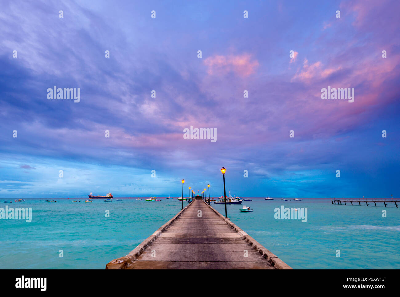 Caribbean, Barbados, Oistins, Oistins Beach, Fishing Boat Jetty - Stock Image
