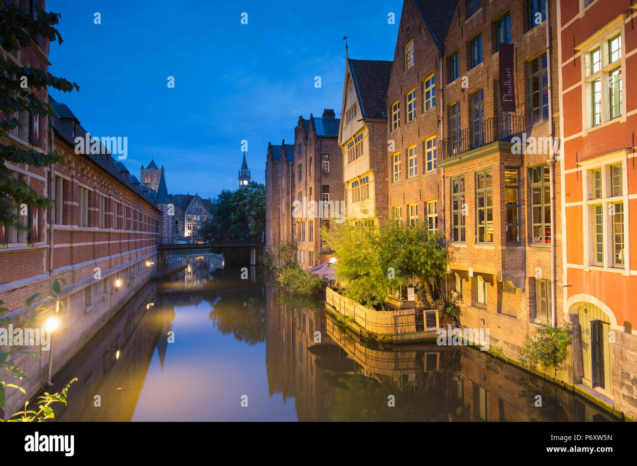 Lieve Canal at dusk, Ghent, Flanders, Belgium - Stock Image
