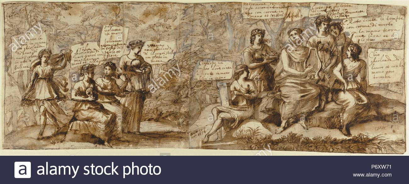 Apollo and the Muses; Claude Lorrain (Claude Gellée), French, 1604 or 1605 ? - 1682; France, Europe; 1674; Pen and brown wash, heightened with white gouache, over black chalk; 21.3 x 58.1 cm (8 3/8 x 22 7/8 in.). - Stock Image