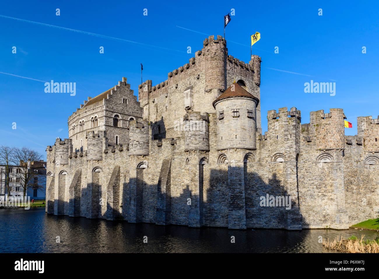 Gravensteen castle, Ghent, East Flanders, Belgium - Stock Image