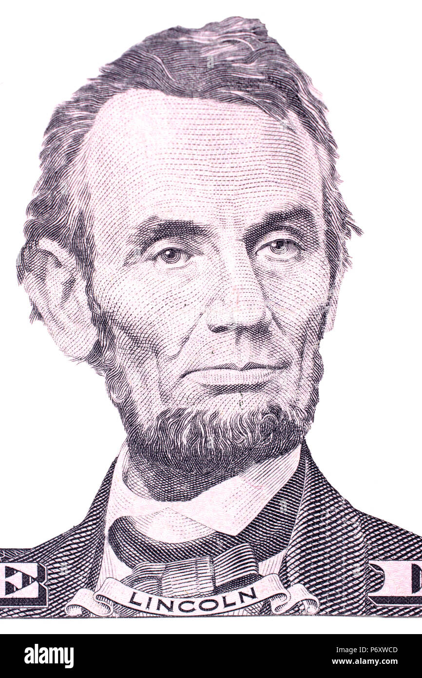 Photo President Abraham Lincoln,hair parted,right,five dollar bill portrait,$5,1864
