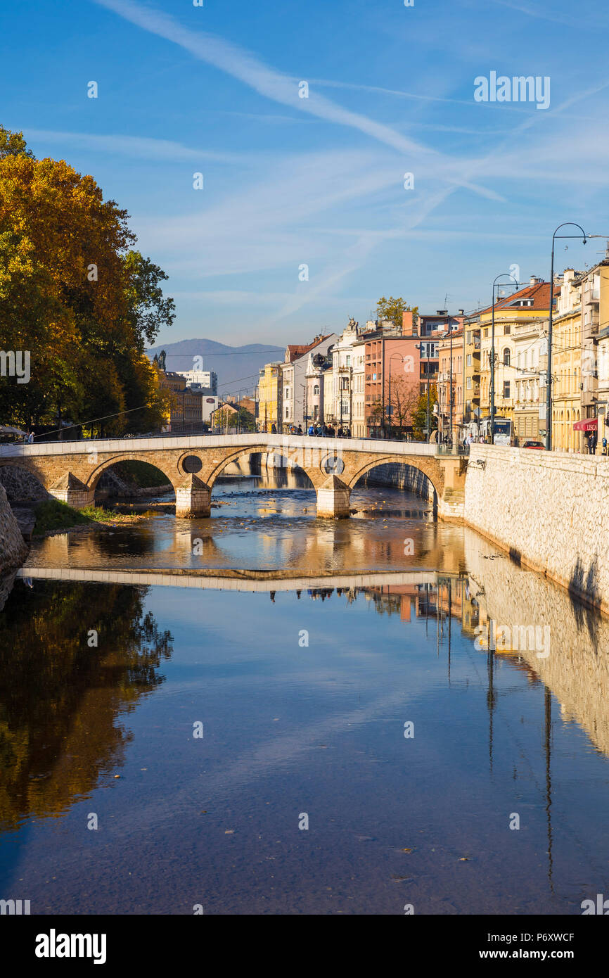 Bosnia and Herzegovina, Sarajevo, Latin Bridge - where Gavrilo Princip assassinated Archduke Franz Ferdinand of Austria and his wife, Sophie, on June 28, 1914, which triggered the start of first World War - Stock Image